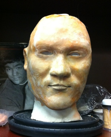 Developing wax bust of Bruce Lee